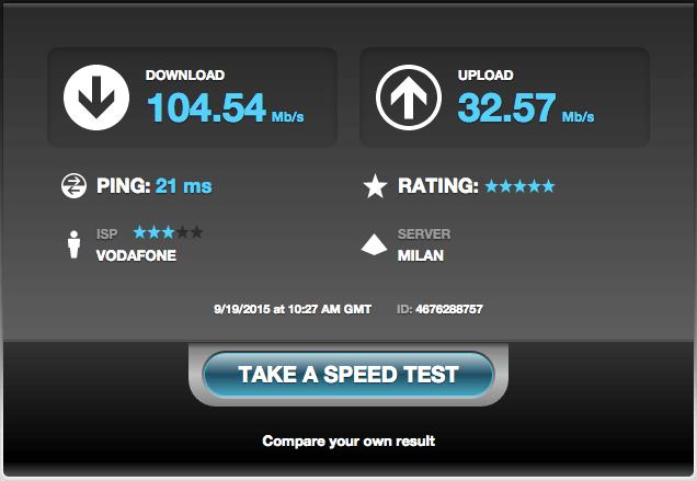 speed test del nostro internet mobile illimitato
