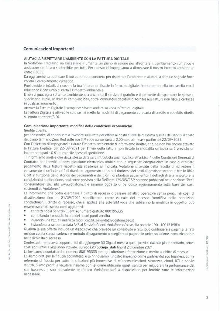 aumenti Vodafone Zero Red - rincari Vodafone - Testo Completo della Lettera del Cambio di Condizioni Contrattuali di Vodafone Business riguardo l'Aumento delle Tariffe Zero Red di Settembre 2021